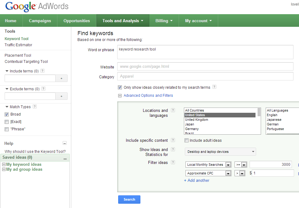 how to use googles free keyword research tool