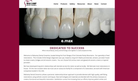 Image of screenshot of Malcamp Dental Lab for Portfolio/project