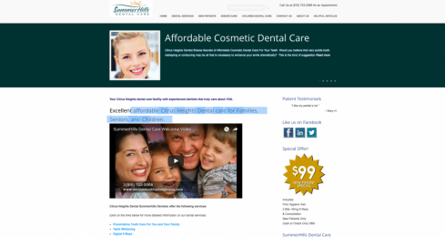 Screenshot image of Summerhills Dental Care for project/portfolio page