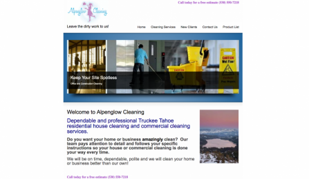 Screenshot image of alpenglow cleaning for project/portfolio page