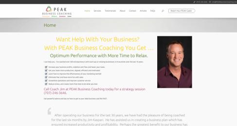 screenshot image of PEAK Business Coaching project/portfolio